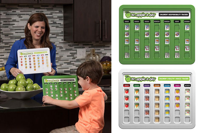 Professional product photography of a child's nutritional tracker.