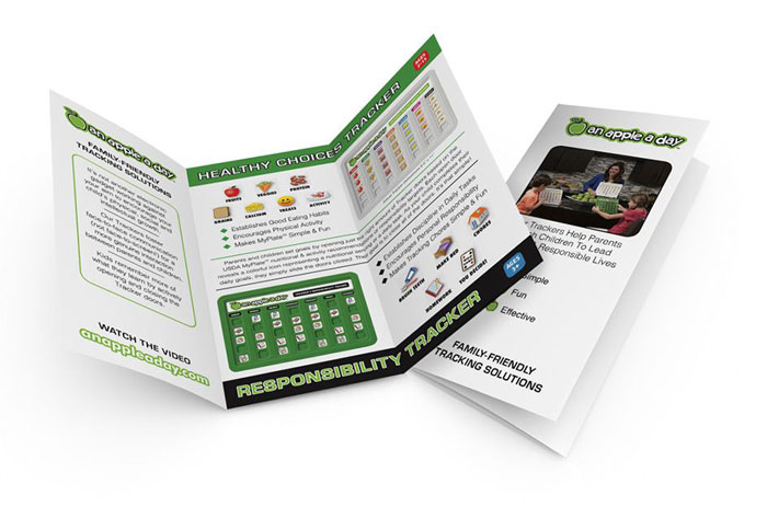 Marketing support brochures for a child's nutritional tracker.