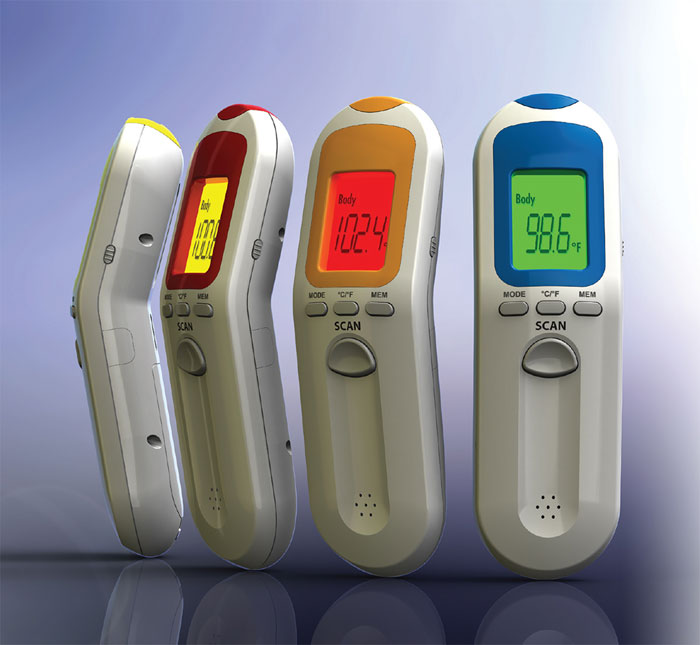 Medical device design of an infrared thermometer.