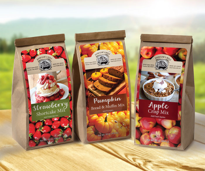 Food packaging design for Fowler's Mill baking mixes.