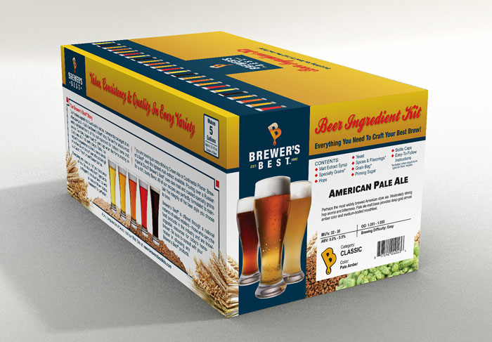 Retail package design for Brewer's Best beer kit.