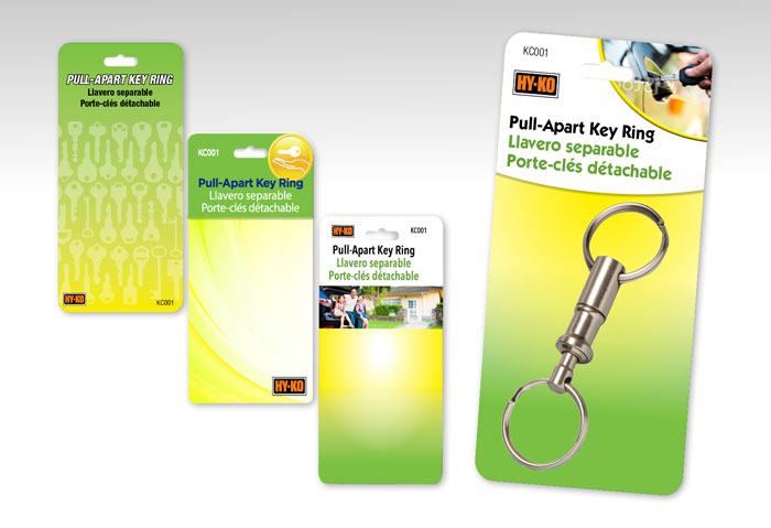 Retail package blister card for Hy-Ko key rings.