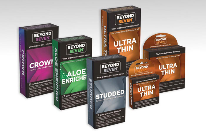Retail carton design for Beyond Seven condom package.