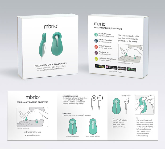 Package design and instruction manual of Mbrio pregnancy earbud adapters.
