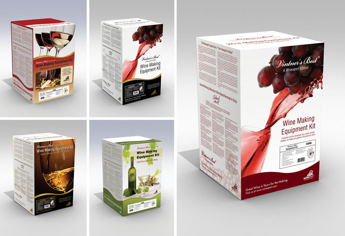 Concept package designs for wine making kit.