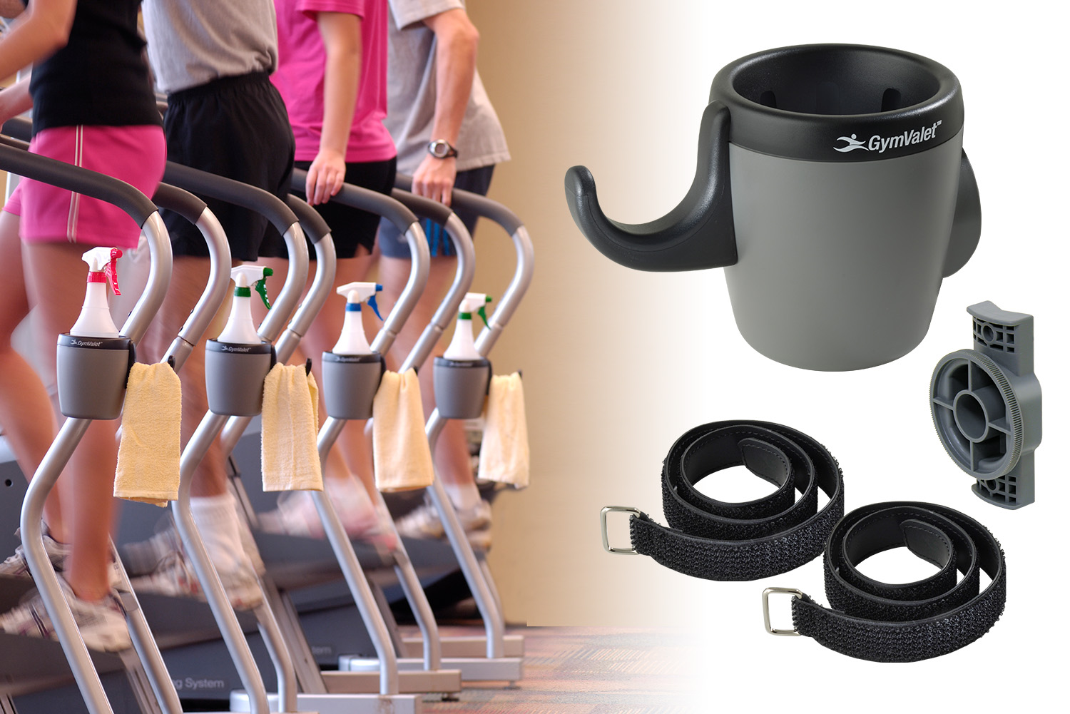 Clean fitness centers easily with the GymValet bottle and towel holder.