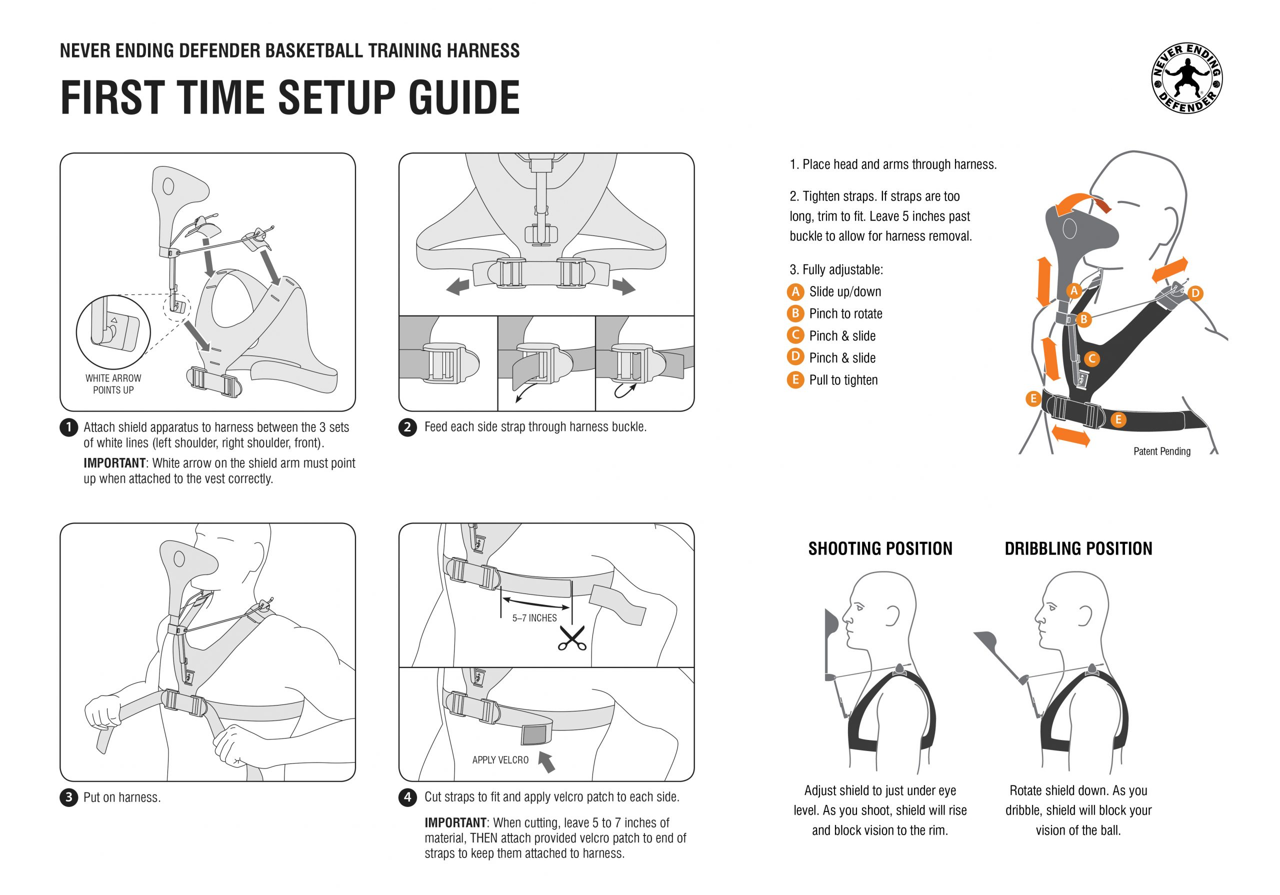 Instruction manual for a basketball training harness.